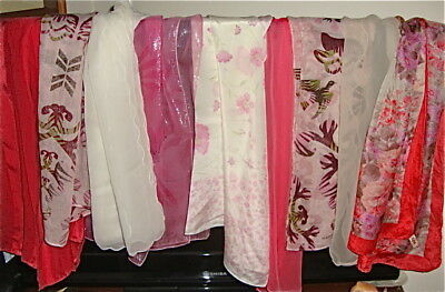 9 VINTAGE Variety SCARVES PINK CREAM THEME Silk Poly Cotton SQUARE OBLONG