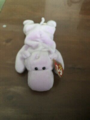 Ty Beanie Babies Happy the Purple Hippo PVC pellet 1993 Mint w// Tag