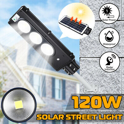120W COB LED Solar Street Light Rada r induction Outdoor Garden Path Wall