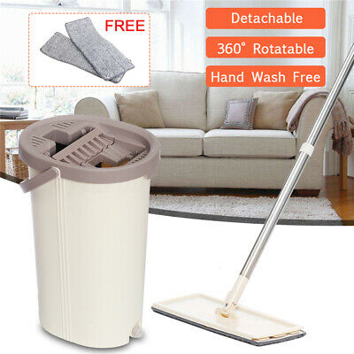 Flat Squeeze Mop And Bucket Hand Free Wringing Floor Cleaning Microfiber