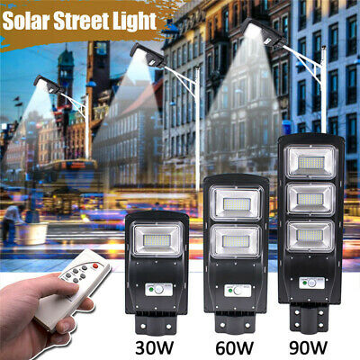 30/60/90W LED Solar Street Light Rada r Induction Outdoor Timing Wall