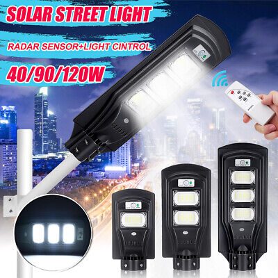 120W LED Solar Street Wall Light PIR Motion Sensor Outdoor Garden