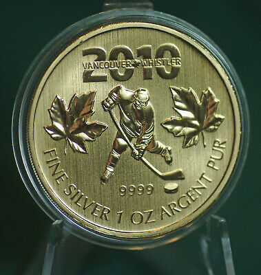 2010 CANADA $5 Gold plated Hockey Silver Maple Leaf coin - no case