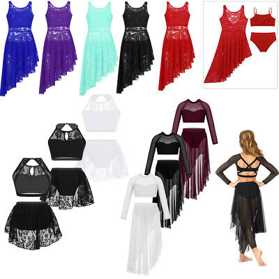 Girls Kids Lyrical Ballet Latin Dance Dress Gymnastics Leotard Dancewear Costume