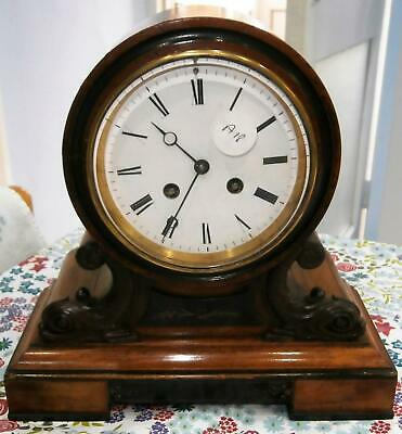 Walnut and Ebony French Bell Striking Bracket Clock with Carved Dolphin Mounts