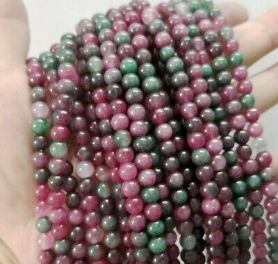 Natural 6mm colorful Watermelon Tourmaline Round Gemstones LOOSE beads 15''