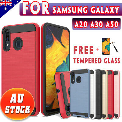 For Samsung Galaxy A20 A30 A50 Brush Armor Case Shockproof Rugged Bumper Cover