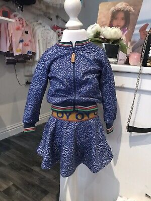 Oilily Girls Winter Blue Skirt And Zip Top Set BNWT Age 2 Years