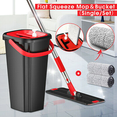 Handfree Flat Floor Mop and Bucket Set Wringing Cleaning System Home Wash & Dry