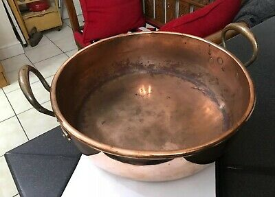 Antique Copper Victorian Kitchen Preserves Pan Brass Handles