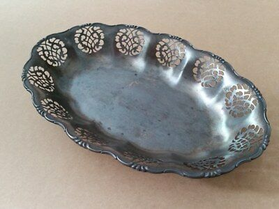 RARE ANTIQUE ORIGINAL Ornate openwork silver-plated fruit bowl early 20th Cent.