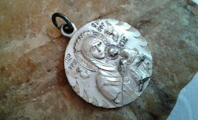 Vintage Catholic Sterling Silver Medal Virgin Mary, Our Mother Of Perpetual Help