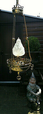 """Mid 20thC Church Hanging Oil Lamp~Flame~Torchiere Light~Later Electrified  45"""""""