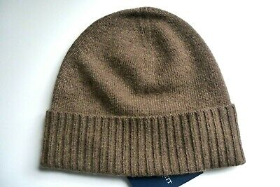 HACKETT Brown Heather Lambswool / Cashmere BEANIE Toque Hat Mens NEW TAGS