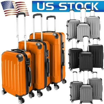 """20""""24""""28"""" Set of 3 Luggage Travel Bag ABS Trolley Spinner Hard Shell Suitcase US"""
