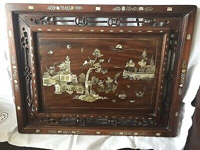 Antique Japanese or Chinese Wooden Carved Panel Tray Inlaid Mother Of Pearl