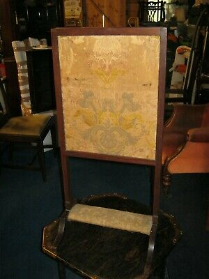 Victorian Mahogany Framed Fire Screen with Footrest
