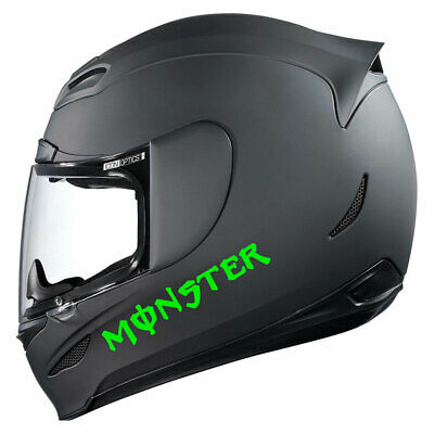 Sticker Monster Vert Fluo Fluorescent Casque Moto Scooter Quad Jet Ski