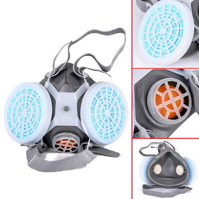 Anti-Dust Respirator Dual Gas Mask Twin Chemical Spray Paint Safety HeadwearBB