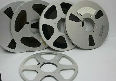 """4 x 10.5"""" Metal Reel To Reel Spool With High Quality Tapes job lot vintage"""