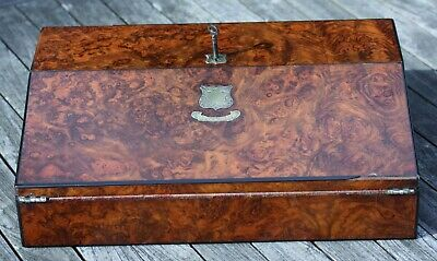 Quality Victorian burr walnut writing slope with ebony edging by Joseph Pearce
