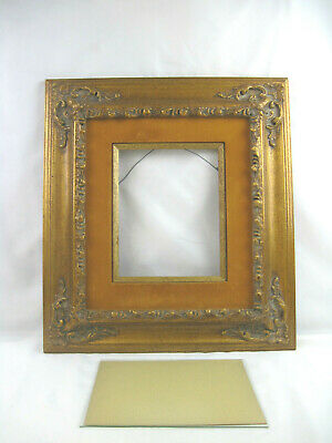 "1940's Vintage Picture Frame Ornate Wood Gold Leaf Gilt 21""x19"" Baroque for 8x10"