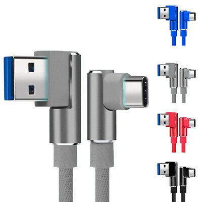 Type-C Data Sync Charger Cable Cords 90 Degrees Angle Braided USB Connector 1m