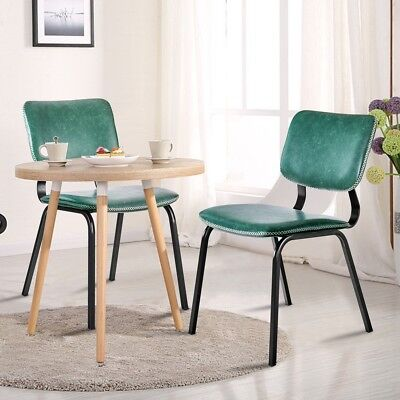 2PCS Retro Dining Side Chairs PU Leather w/ Metal Leg Kitchen Living Room Office