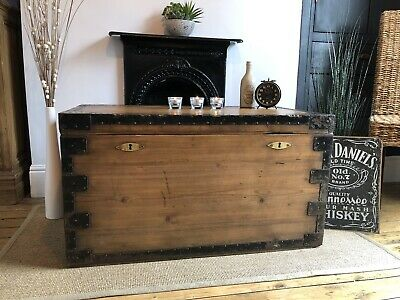 Magnificent Antique  Vintage Old Pine Chest  Wooden Trunk  Blanket Box