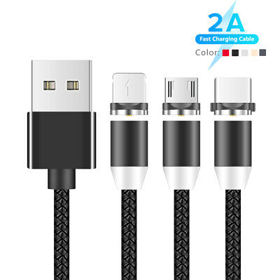 Magnetic Braided Micro USB Lightning Type C Cable For iPhone X XS Samsung 1m 88