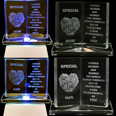 Glass Crystal Message Mum Nan Ornament Book Gift Set Xmas Mothers Day Poem Gran