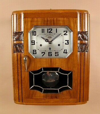 An Art Deco Westminster Girod Carillon Oak, Walnut Wall Clock French circa 1940