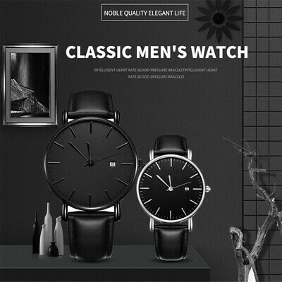 Mens Watch Military Leather Date Quartz Analog Casual Business Wrist Watches NEW