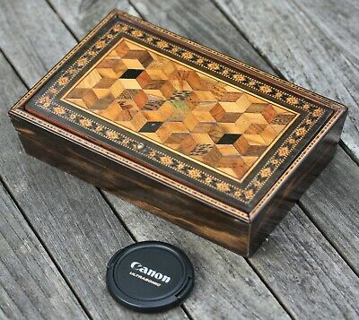 Antique Tunbridge Ware needlework casket box with tumbling block design, 19th C.