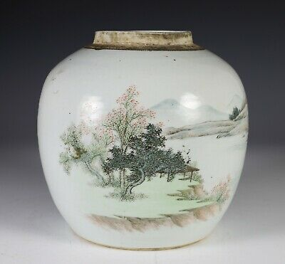Antique Chinese Qianjiang Porcelain Hand Painted Jar with Landscape