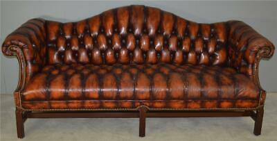 17845 Leather Tufted Chippendale Camel Back Sofa