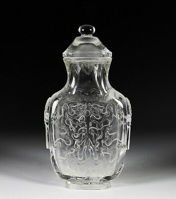 Large Antique Chinese Rock Crystal Covered Vase