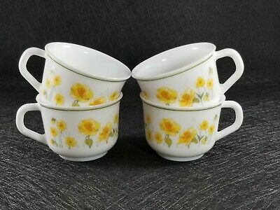 Set Of 4 Arcopal France Yellow Poppy Milk Glass Cups