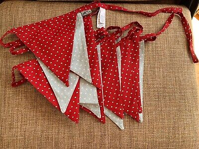 At Home Ashley Thomas Red Blue Thick Large Heart Cotton Bunting 16x Flags 227in
