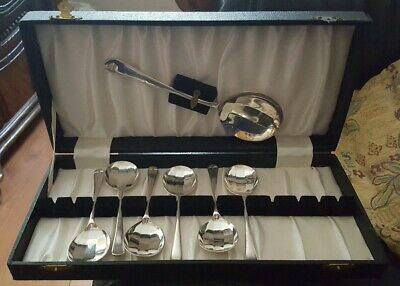Boxed Silver 6 Spoons & Serving Spoon Craftsman Plate Sheffield England EPNS