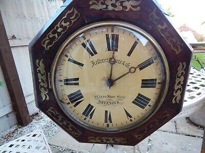ORIGINAL WALL CLOCK GREENOCK SCOTLAND ANTIQUE circa 1890 Wood Ketterer & Currie