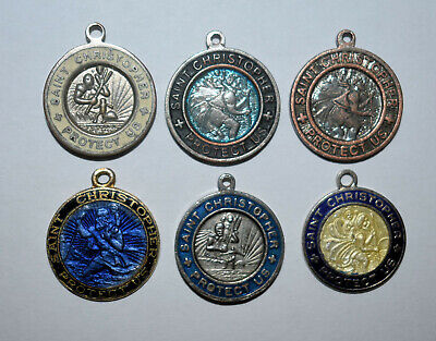 9. Lot Of 6 Religious Saint Christopher Medals With Surfer Theme, Enameled Color