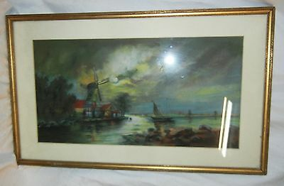 VINTAGE, ANTIQUE PAINTING of a WINDMILL by the SEA Framed and Mounted NICE