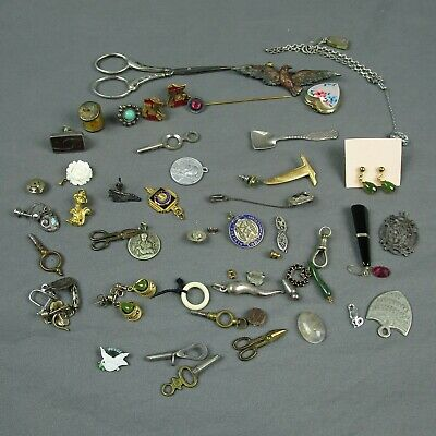 Junk Drawer Jewelry Lot | Pins Scissors Earrings Misc. | 133.4g