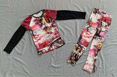 CARBONE GIRLS PARIS - EIFFEL TOWER PRINT TOP & LEGGINGS 2PC SET 9 -10 yrs SZ 140