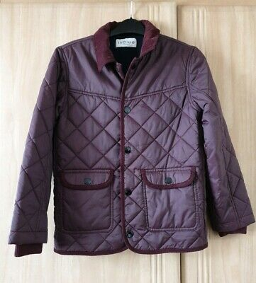 M&S Boys Plum Quilted Jacket VGC Age 9-10 Years.