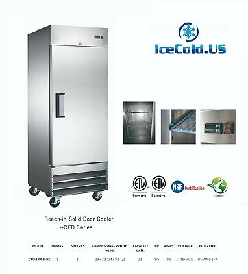 """29"""" Reach-In  Upright Commercial Refrigerator Stainless Steel Cooler"""