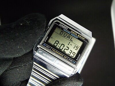 CASIO VINTAGE DIGITAL WATCH DB -310 871 DATA BANK GOLD TELEMEMO 30 old SCHOOL