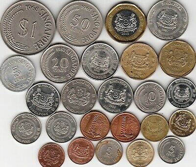 25 different world coins from SINGAPORE