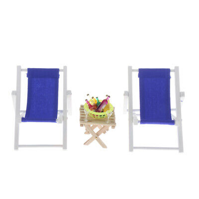1:6 Dollhouse Miniature Wood Table Chairs with Wine Beach Set Outdoor Blue